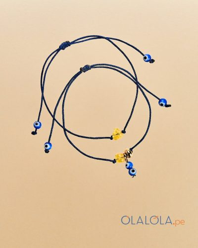 Pulseras Pack Prosperity, pulsera hecha a mano, con ambar natural y ojo turco de murano. Pulsera regalo amuleto, pulsera para regalo mujer. unisex.